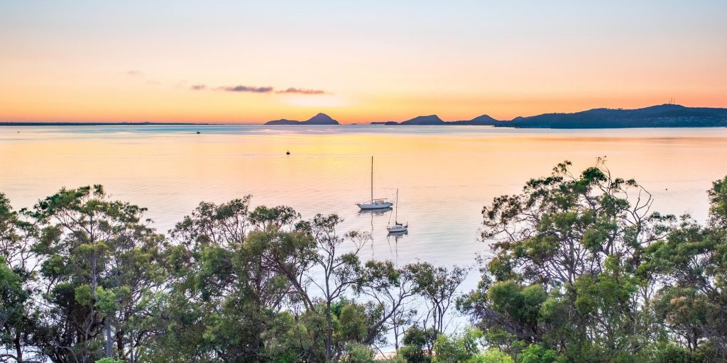 The stunning view of the Sail Port Stephens racetrack from a Bannisters baclcony